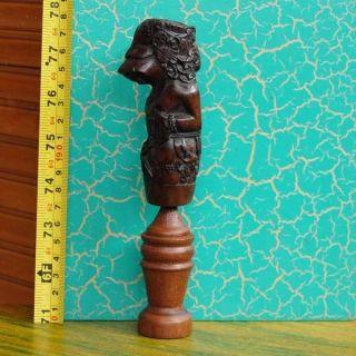 Wooden Carved Keris Hilt Handle Indonesie Deder Pj67 photo