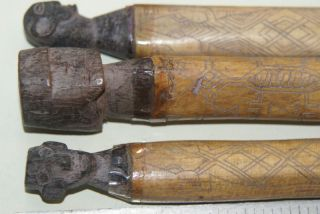 3 Old Borneo Dayak Tribe Bubalus Bone Scrimshaw Tubes Carved Ancestor Lids Bn11 photo