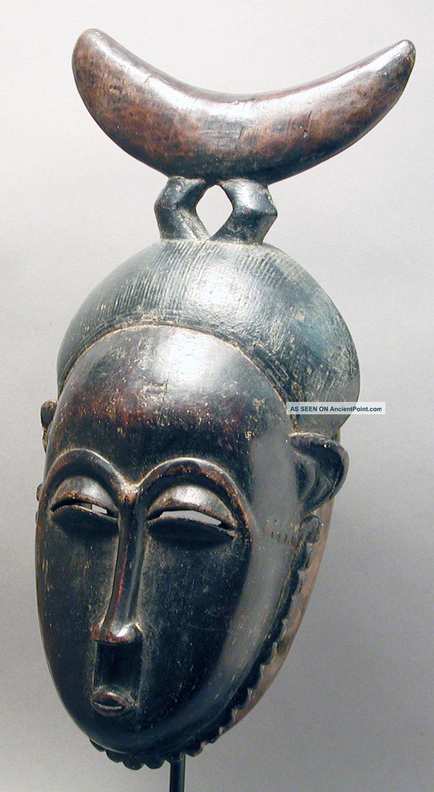 African Guru Yaure Fine Woman Mask W Wooden Headrest Cote I ' Voire Ethnix Other photo