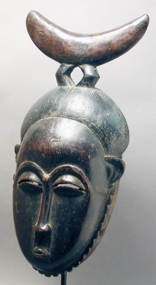African Guru Yaure Fine Woman Mask W Wooden Headrest Cote I ' Voire Ethnix photo