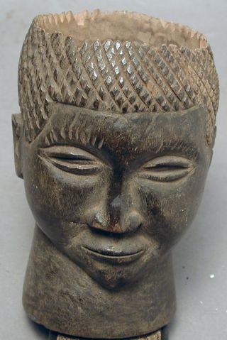 African Kuba Wood Palmwine Cup Container Handmade Figure Drcongo Ethnix photo