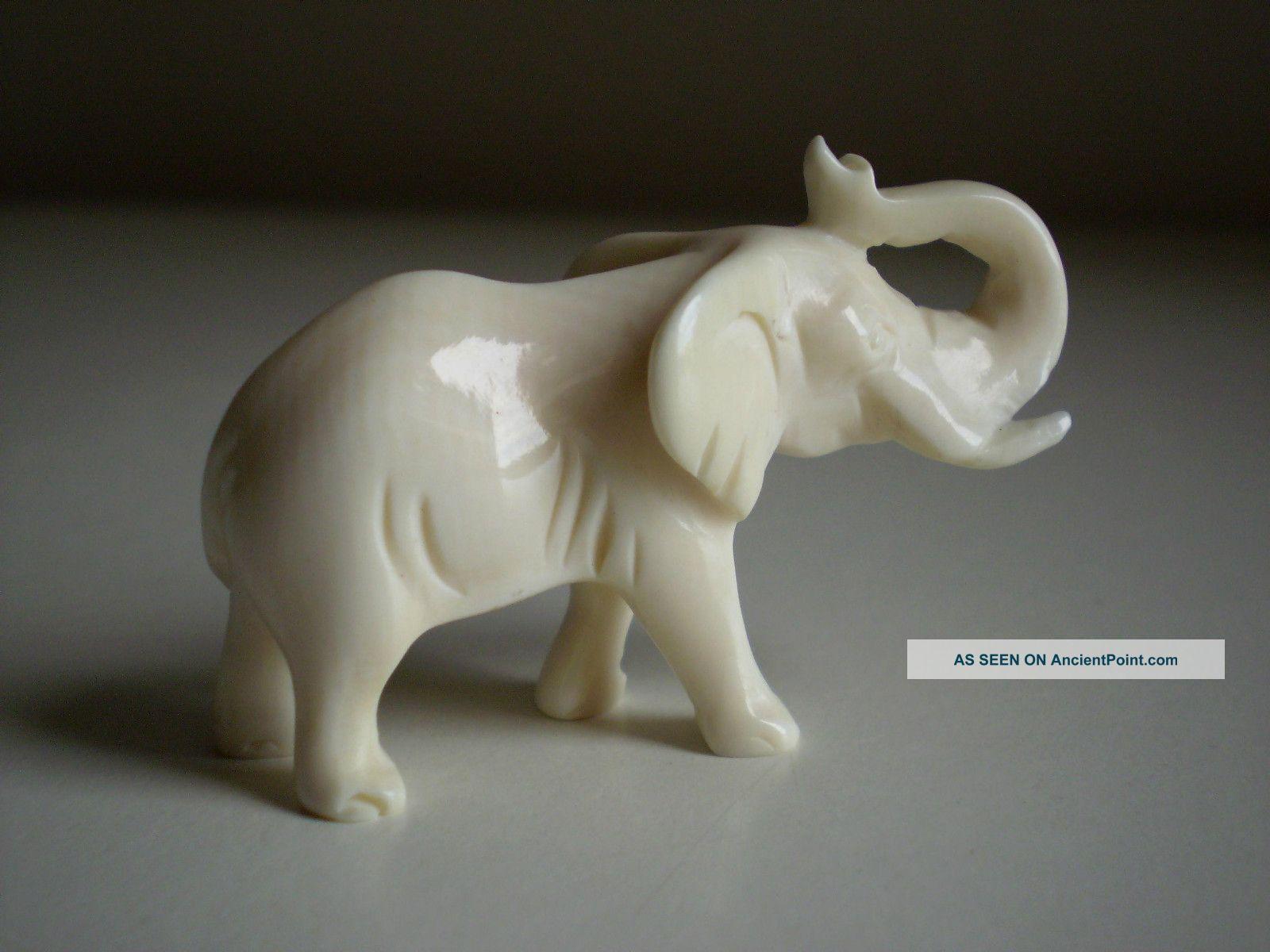 Antique Vtg Ox Bone Faux Ivory Carved Elephant Figurine Statue Sculptures & Statues photo