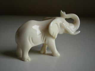 Antique Vtg Ox Bone Faux Ivory Carved Elephant Figurine Statue photo