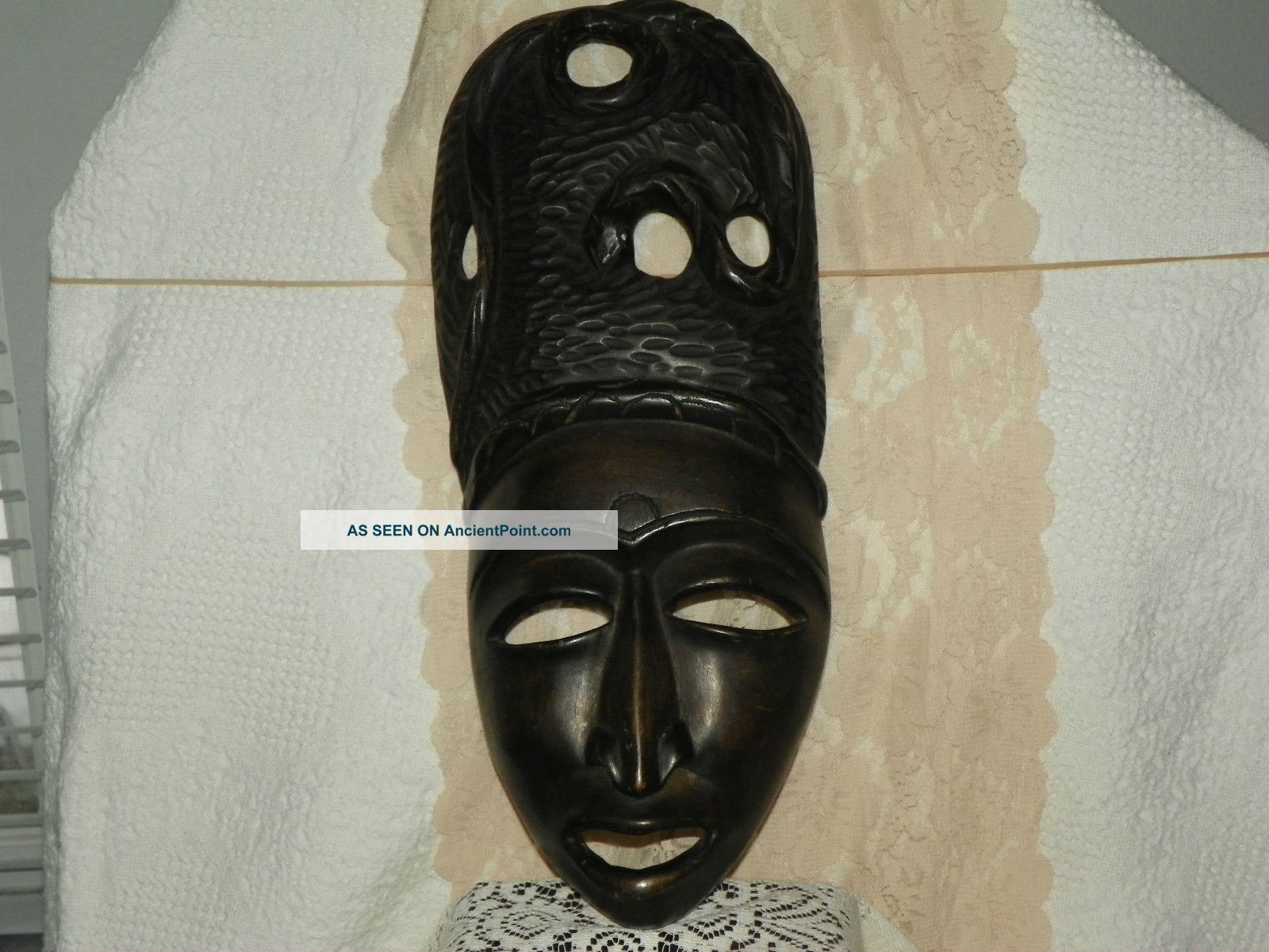 Antique Ethnographic Rare Wooden African Mask With Snake Hard Wood Hand Carved Masks photo