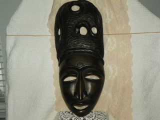 Antique Ethnographic Rare Wooden African Mask With Snake Hard Wood Hand Carved photo