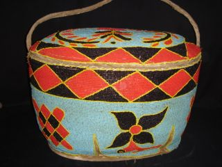 African Tribal Yoruba Beadwork Basket Ethnographic Art,  Home Decor,  Container photo