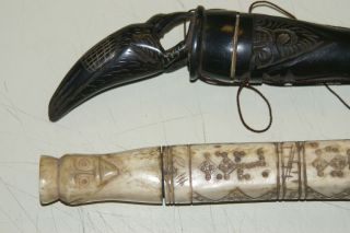 Unique Old Shaman Buffalo Horn Lime Betel Carrier Container Hand Carved Bird Lid photo