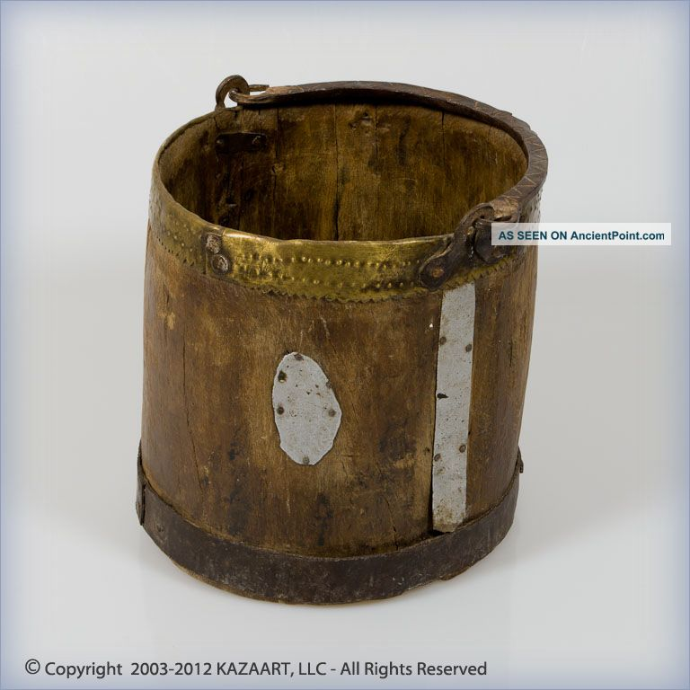 Old And Berber Wood And Brass Decorated Water Bucket Morocco Other photo