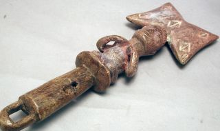 African Animistic Yoruba Wooden Shango Fetish Artifact Dance Wand Nigeria Ethnix photo