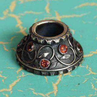 Silver 925 Sterling Mendak Keris Ring Natural Orange Sapphire Pm86 photo