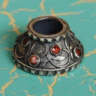 Silver 925 Sterling Mendak Keris Ring Natural Orange Sapphire Pm87 photo