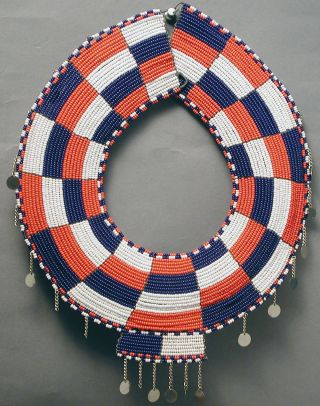 Jewelry Elmolo Red Blue White Maasai African Wire Beaded Necklace Kenya Ethnix photo