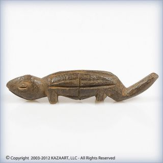 Old Lobi Wood Divination Figure Of A Chameleon Burkina Faso photo