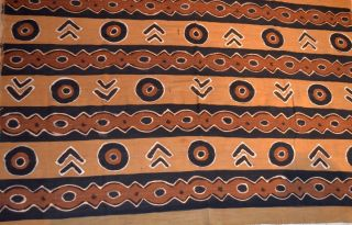 African ' Bogolanfini ' Mud Cloth Fabric Hand Made By Tribal Bamana People - Mali photo