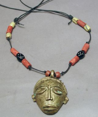 Jewelry Ashanti Passport Mask Necklace Wood Glass Beads Lost Wax Method Ethnix photo
