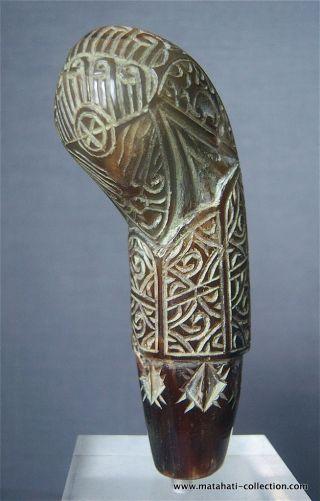 Old/antique Rare Keris Kris Hilt,  White Buffalo Horn,  Cirebon,  Java,  Indonesia photo