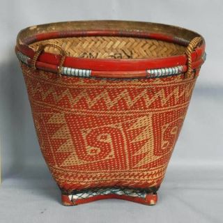 Rattan Basket Storage Ethnoghic Indonesien Pi82 photo