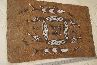 Rare Tapa Kapa Lake Sentani Bark Cloth Abstract Fish Waves Authentic Tribal Art photo