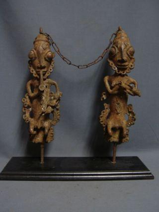Extremely Rare Bronze Edan Figures,  Ogboni Society.  Nigeria / Benin / Togo photo