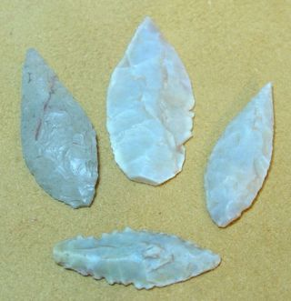 4 African Neolithic Stone Projectile Arrowhead Points photo
