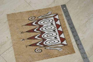 Rare Tapa Kapa Lake Sentani Tribal Bark Cloth Abstract Hand Painted Art Pigments photo