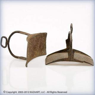 Old And Pair Dogon Hand - Forged Iron Horse Stirrups Mali photo