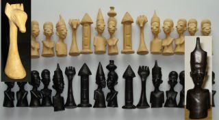 Vintage African Figural Bust Type Chess Set Hand Carved Wood Ebony 32 Mozambique photo