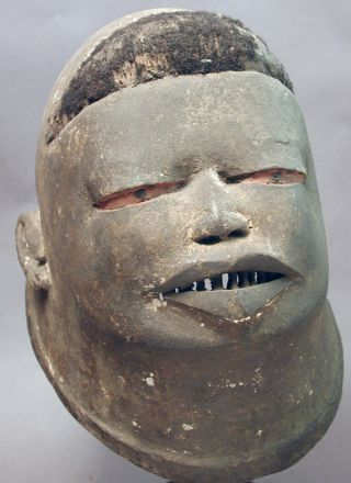 African Makonde Wood Handcarved Helmet Hair Head Worn Mask Mozambique Ethnix photo