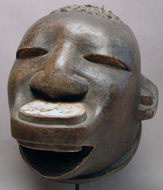 African Headworn Makonde Museum Quality Wooden Helmet Upper Lip Plug Mask Ethnix photo