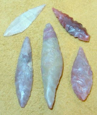 5 African Neolithic Stone Projectile Arrowhead Points photo