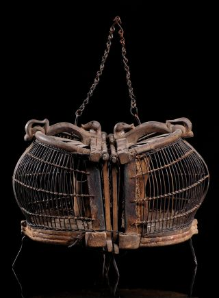 Rare And Ancient Double Bird Cage From Lombok Indonesia; Hand Made Tribal Art photo