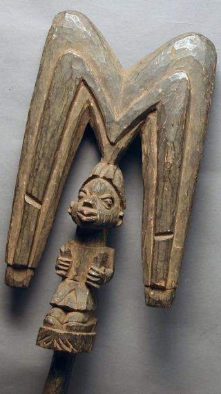 African Animistic Yoruba Wooden Shango Fetish Artifact Dance Wand Nigeria Ethnix photo