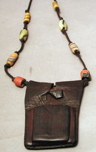 Jewelry African Grisgris Tuareg Leather Prayer Beaded Necklace Amulet Ethnix photo