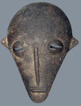African Bambara Ancestral Ceremonial Metal Iron Mask Mali West Africa Ethnix photo
