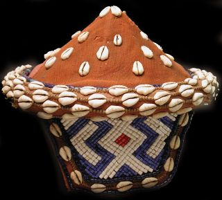 Wearable African Art Pende Hat Beads Raffia Cowrie Shells Zaire Drcongo Ethnix photo