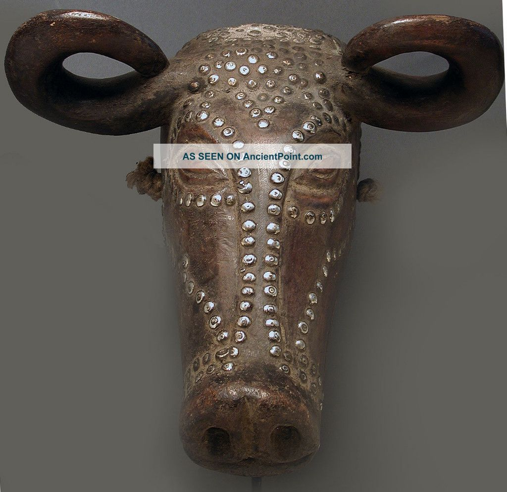 African Magical Animal Metal Male Horn Buffalo Mask Tabwa Dr Congo Zaire Ethnix Other photo