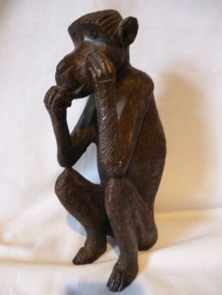 Vintage 20th Century Hand Carved Baboon 8