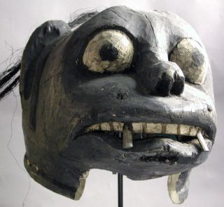 African Makonde Ceremonial Wood Headhelmet Handmade Mask Teeth Mozambique Ethnix photo