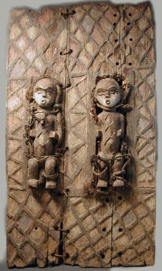 African Gabon Granary Furniture 3pcs Wood Mitsogo Pair Figure Grains Door Ethnix photo