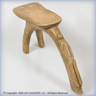 Old And Rare Lobi Three Legged Figural Wood Stool Burkina Faso photo