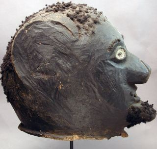 African Makonde Danced Wooden Handcarved Hair Head Helmet Mask Mozambique Ethnix photo