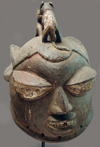 African Wood Gelede Yoruba Rabbit Ear Hyenas Helmet Head Worn Animal Mask Ethnix photo