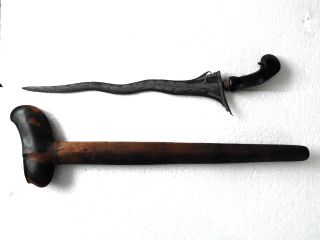 Old Keris Pandawa Lare 5 Luk Kriss Kris Tangguh Pajang,  Hs07 photo
