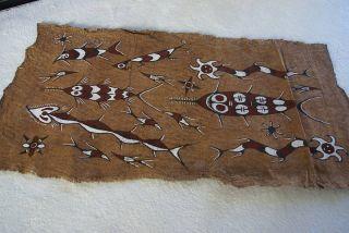 Rare Tapa Kapa Sentani Bark Cloth Abstract Pigment Painting Irian Jaya Papua Art photo