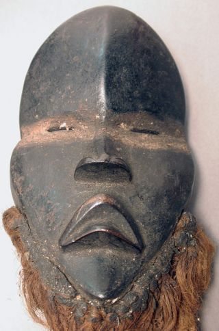 Mini Dan African Artifact Wood Black Face Mask Cote I ' Voire Liberia Ethnix photo