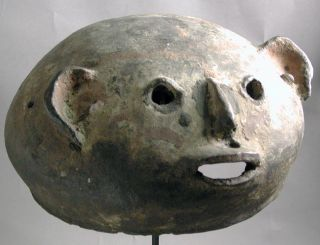 African Magical Ancestral Head Ceramic Mask Makonde Mozambique Ethnix photo
