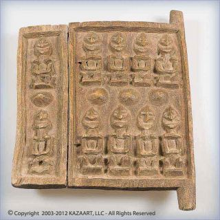 Dogon Wood Granary Or Sanctuary Door Panel With Figures And Breasts Mali photo