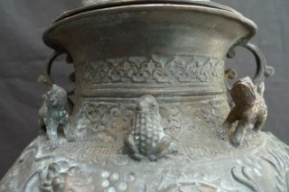 Antique Bronze Jar Expensive Collection Pot Vase Box Naga & Watery Creature photo