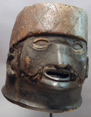 African Makonde Colonial Wood Initiation Head Helmet Beardmask Mozambique Ethnix photo