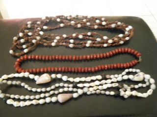 3 New Guinea Vintage Seed Necklaces Bn $40 Ex Con photo